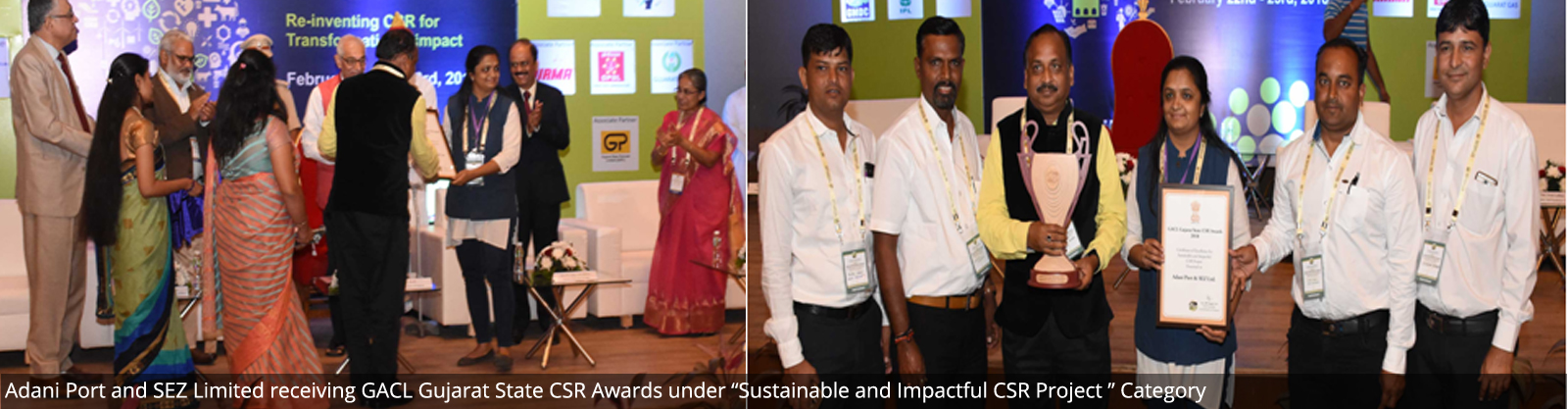 "Adani Port and SEZ Limited receiving GACL Gujarat State CSR Awards under ""Sustainable and Impactful CSR Project "" Category"